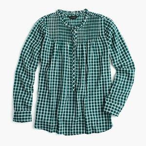 J.Crew Ruffle Popover Shirt Mini Windowpane Green